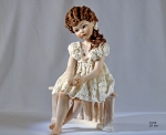 Sibania Porcelain Figurines - Girl porcelain figurine, Porcelain sculpture depicting a young girl, Moon, height 25 cm (9.8 in), Wonderful porcelain sculpture, entirely handmade in Italy.