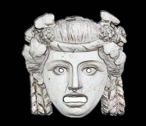 Oscillum-mask, Pompeii, Terracottas Museum Pompeii Herculaneum - Oscillum-mask, Pompeii, 1st century A.D., terracotta sculpture, mask theater of Ancient roman to be used as a design element. Painted Terracotta. The original comes from Napoli, Italy.