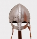 Armours - Medieval Helmets - Viking Helmet, leather Trim, wearable Costume Armor. Viking helmet with mask semi-spherical, with a metal mask to protect the eyes and nose, made entirely of iron, handmade, worn to intimidate enemies in combat.  It is a magnificent armor helmet.