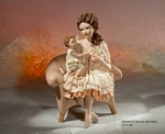 Sibania Porcelain Figurines - Girl porcelain figurine, Porcelain sculpture depicting a young girl, Happy moments in chair, height 30.5 cm (12 in), Wonderful porcelain sculpture, entirely handmade in Italy.