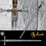 Swords and Ancient Weapons - Templar Swords - Damascene Sword Templar handle inlaid gold and Templar cross.