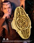 World Cinema - Hobbit Jewelry - Elrond Gold Ring, Crafted in sterling silver. Whole sizes 6 – 14. Comes with collector wood box.