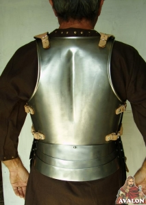 Medieval Cuirass Italian, Armours - Medieval Body Armour - Medieval breastplate, composed of four pieces, complete protection of the chest and back, made of brushed stainless steel with leather straps.