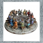 Medieval - Historical Miniatures - Round Table with King Arthur and the knights of the Arthurian legend. Resin, size 47x47cm.
