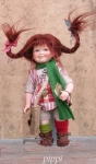 Collectible Porcelain Dolls - Dolls Porcelain Fairy Tales - Pippi Longstocking, doll porcelain fairy tales, biscuit porcelain, height 21 cm,