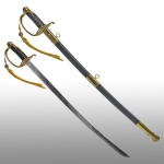 Swords and Ancient Weapons - Daggers and Sabres - U.S. cavalry saber, with slightly curved blade. It comes complete with scabbard covered in black leather with metal hilt.