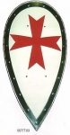 Armours - Medieval shields - Templar Shield template almond-shaped metal, painted with red cross in use in the Middle Ages, weight: 2.100 gr. size: 83x41x8cm.