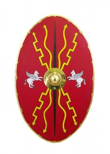 Roman Auxiliary Cavalry Shield, Ancient Rome - Roman Shields - Oval shield from the flat profile of the Roman Auxiliary Cavalry, size 115 x 60 cm.