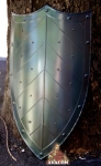 Armours - Medieval shields - Medieval shield with a three-pointed top and curved lateral edges, reinforced with rivets.