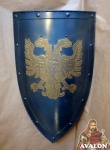 Armours - Medieval shields - Shield used in the Middle Ages, with a two-headed eagle coat of arms, made entirely of iron burnished handmade figure and chiselled and gilded.