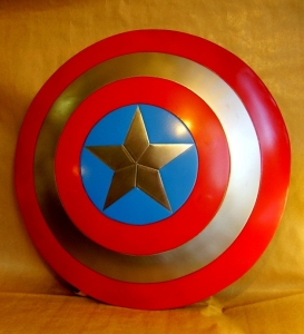 Captain America  metal shield, World Cinema - Captain America metal shield is crafted from metal, it measures approximately 23 1/4-inches in diameter. The Captain America Shield is made of steel making it fully functional. Like Captain America's real shield it is slightly concave.