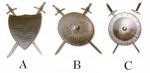 Armours - Medieval shields - Medieval shield complete with two swords held by support, in use in medieval shields.