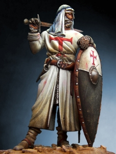 Almond-shape shield, Armours - Medieval shields - Made of wood covered with white cloth painted with the cross license.