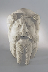 Pompeii, Mask of Silenus, Terracottas Museum Pompeii Herculaneum - Mask of Silenus, Pompeii, 1st century A.D., terracotta sculpture, Pompeii, House of the Golden Cupids, mask theater of Ancient roman to be used as a design element. Painted Terracotta. The original comes from Napoli, Italy.