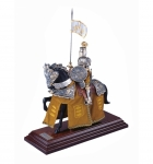 Medieval - Historical Miniatures - Miniature knights Armour - knights in armour miniature figurines, Total height 33 cm. miniature knight parade with great helm, everything been working well.
