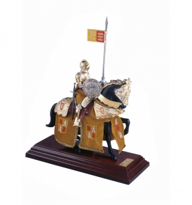 Miniature Knights Armour, Medieval - Historical Miniatures - Miniature knights Armour - knights in armour miniature, Total height 33 cm. miniature knight parade with great helm, everything been working well.