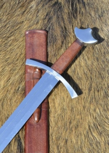 Medieval Sword, Swords and Ancient Weapons - Medieval Swords - High-medieval knightly sword with scabbard, one-handed knightly sword is crafted by hands only. The guard and the brazilnut - shaped pommel are made of cast iron.