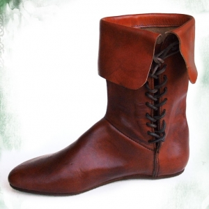 Medieval Boots, Medieval - Medieval Clothing - Medieval shoes boots - Boot laces in the calf with side lacing. Anti-slip rubber sole.
