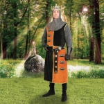 Medieval - Medieval Clothing - Tunic is made of quartered black and gold cotton velvet with the three crowns of Arthur Pendragon emblazoned on the front gold panels. Price refers only tunic.