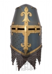 Armours - Medieval Helmets - Crusader Helmet battle ready - head protection air reinforcement plate with shoeing.