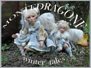 Fairy Frost, Porcelain Fairy Dolls - Porcelain Fairy - Porcelain Fairies - Fairy Sculpture, handcrafted porcelain doll Biscuit. Height: 42 cm. with glass eyes. Collection Montedragone. Price, refers to a single doll.